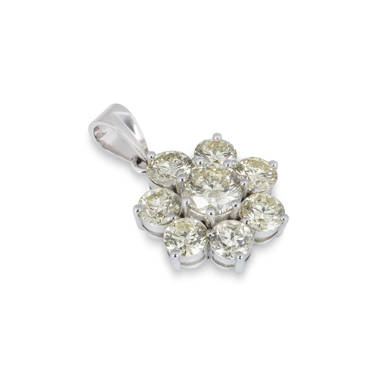 White Gold Diamond Flower Pendant 7.03ct TDW